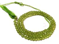 """1 Strand Natural Green Peridot Rondelle Faceted 3.5-4mm Gemstone Beads 13""""Inch"""
