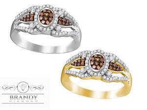 Brandy Diamond® Chocolate Brown 10K Gold Angel Wings Design Halo Ring .35CT