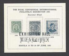 Philippines 1961 Rizal Philatelic Exhibition souvenir sheet used