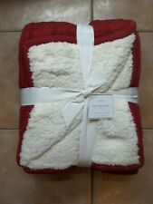 "Pottery Barn Fur Cozy Cable Sweater Knit Cardinal Red Ivory Throw 60"" #2117"