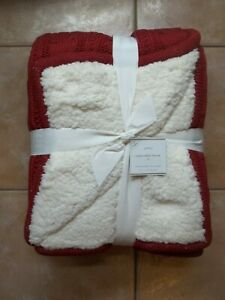 """Pottery Barn Fur Cozy Cable Sweater Knit Cardinal Red Ivory Throw 60"""" #2117"""