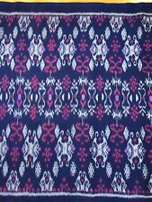 HAND WOVEN BLUE, GRAY, VIOLET 100% COTTON IKAT FABRIC BY THE YARD