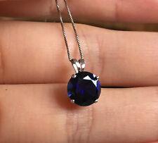 10k Gold 8mm Blue Sapphire Solitaire Pendant Box Chain Necklace