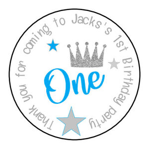 Personalised Boy Age Blue Crown Birthday Thank You Party Stickers Sweet Cones