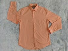 Express 1MX LARGE 16-16.5 Men Fitted Peach Orange Long Sleeve Button Dress Shirt