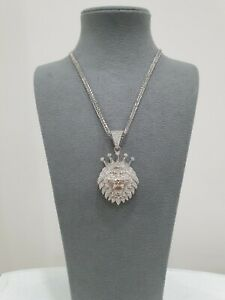 925 Sterling Silver,Ice Jewlz,White Gold Finish,Shiny,Sparkly Stone Pendant ONLY