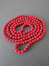 Glass Bead Long Necklace Vintage Art Deco Red