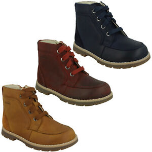 BOYS CLARKS HEATH DASH LACE UP INFANT LEATHER TODDLER CHUKKA ANKLE BOOTS SIZE