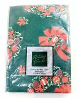 """Holiday Classics Flannel Backed Vinyl CHRISTMAS TABLECLOTH ~ Oblong 52"""" x 90"""""""