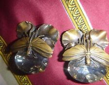 rare ERMANI BULATTI earrings bronze dragonfly lily pad lucite crystal clip ons