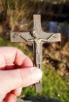 altes Kreuz Kruzifix Massivholz Bronze 12 x 8 cm Jesus Christus Sammlerstück