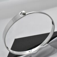 Vintage Solid 925 Sterling Silver Minimalist Design Bangle with Hook Fastener