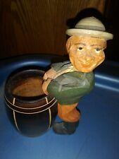 Vintage 1956 Anri Carved Man Barrel Toothpick Cigarette Holder label sticker