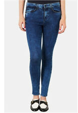 Topshop Moto Leigh Skinny Jeans 8 W26 L30 Dark Blue Acid Wash