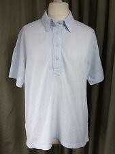 Orvis 100% Cotone Blu Bianco Camicia a Righe Tessuto Increspato-grande
