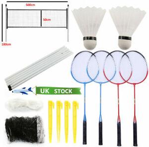 Professional Badminton Racquet Set 4 Player Racket Shuttlecock Poles Net Bag