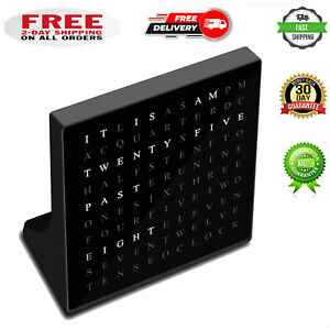 Modern LED Word Clock - Displays Time as Text --USB Port for Home & Office Black