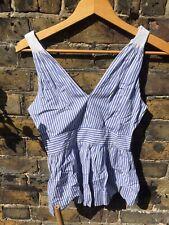 Banana Republic Size 00 Striped Blue And White Vest Top