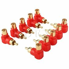 10pcs Red Male to Female RCA Adapters Reduce Cable Bend 90 Degree