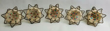 5 Antique German Glass Wire Wrapped Christmas Ornaments Star Indents Frosted