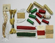 Lot of 18 Skeins/Spools/Cards DMC/Kreinik/Other Metallic Embroid/Craft Threads
