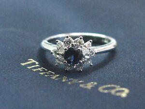 Tiffany & Co Platinum Gem Sapphire Multi Shape Diamond Jewelry Ring .96Ct