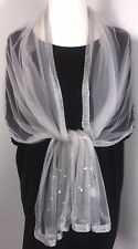 NEW Silver Metallic Scarf Pashmina Pearls Diamantés Mesh Sparkly Wedding Long