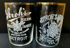 2 Vintage Pre Prohibition Stroh?s Beer Detroit MI Etched Beer Glasses  3.5' Tall