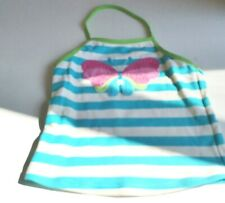 JOHN LEWIS GIRLS BUTTERFLY SEQUIN  BLUE STRIPED HALTER  TANKINI TOP  8 YEARS