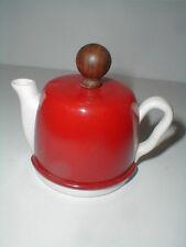 White Porcelain Teapot Shaped Creamer w Tomato Red Metal Cozy Lid- Japan