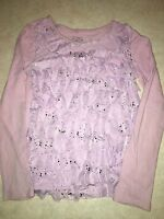 GIRLS SIZE 10 PASTEL PURPLE JUSTICE RUFFLE TOP SHIRT SILVER SPARKLES LONG SLEEVE