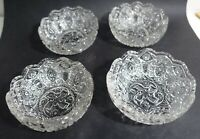 """mrk13 set of 4 ANTIQUE PRESSED GLASS BERRY BOWLS, 4 X 1 5/8"""" EAPG pattern glass"""