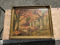 Autumn Landscape Forest by Alois Arnegger 1879-1963  Lithograph Painting Signed