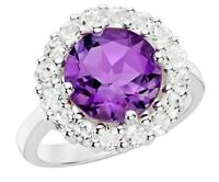 2.05ct TW 7.50 mm round Amethyst CZ Cluster Ring 925 Sterling Silver Size 7