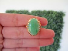 .46 Carat Diamond 8.36 Carat Jadeite Yellow Gold Ring 14k R75 sep