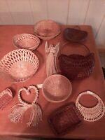 VINTAGE Set Of 11 Vintage Wicker Lot Baskets  Boho  Rattan Wall Art Decor NEW