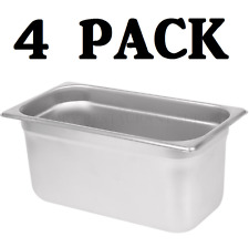 """4 Pack 1/3 Size Stainless Steel Steam Prep Table Pan 12 3/4"""" x 7"""" x 6"""" Deep New"""