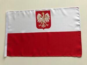 Fahne Flagge Polen 30x45 cm mit Wappen mit Schaft