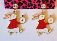 Betsey Johnson Crystal Rhinestone Enamel Rabbit Alice Wonderland Post Earrings