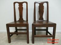 Pair Antique Tiger Oak Dining Room Side Chairs Primitive Chippendale Primitive C