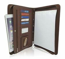 Zippered PU Leather Business Portfolio Padfolio - Professional Light Brown Fa...