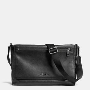NWT COACH SULLIVAN messenger in pebble leather 71645 BLACK