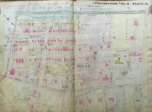1911 POINT BREEZE PITTSBURGH PA H HEINZ GREENLAWN&WESTINGHOUSE MANSION ATLAS MAP