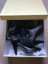 Michael Kors Black Leather Metal Studded Boots UK7 // US9M
