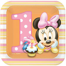 Disney Baby Minnie Mouse DESSERT PLATES 1st Birthday Party Supplies Tableware