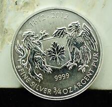 2012 CANADA $1 WAR OF 1812 COMMEMORATIVE 3/4 TROY OZ .9999 FINE SILVER