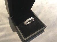 2.0 Carat Diamond Brilliant Round Cut Full Eternity Ring Platinum Finish Size O
