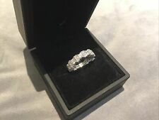 2.0 Carat Diamond Brilliant Round Cut Full Eternity Ring Platinum Finish N &half