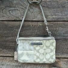 Coach Poppy Bag Logo Tan Beige Wristlet