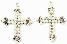 Crystal Silver rosary cross charms-Pendants- Rosary Findings